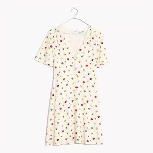 Madewell White Floral Orchard Flutter-Sleeve Dress